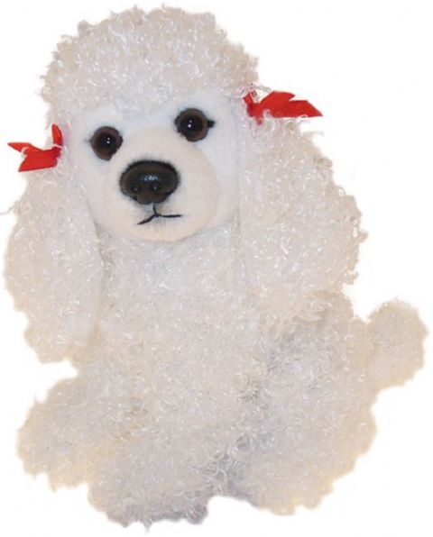 "White Poodle puppy dog sitting Cuddly toy 6.5"" pocket toy"